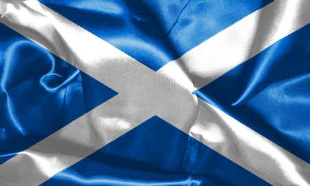 Flag Of Scotland Waving in The Wind 3D illustration Stock Photo