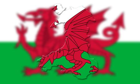 bandera de gran bretaña: Mapa de Gales con la bandera del país en el fondo Ilustración 3D