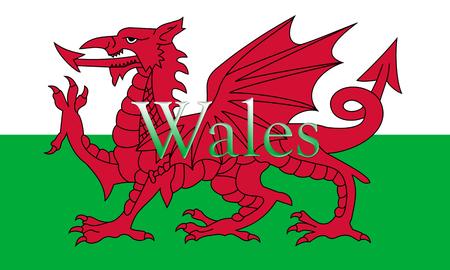 Bandiera nazionale del Galles con il nome del paese su di esso Illustrazione 3D