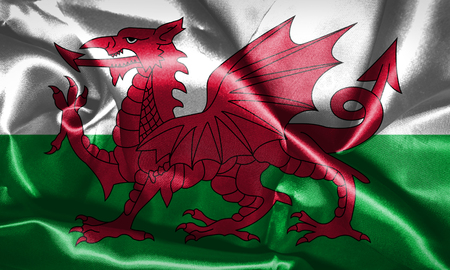 Wales National Flag Grunge Looking 3D illustration Archivio Fotografico