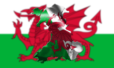 Map Of Wales With Flag Of Country In The Background 3D Illustration Stock Photo
