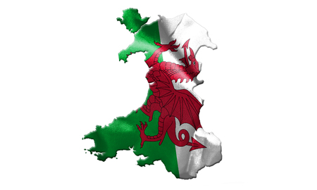 Mappa del Galles con la bandiera del paese su isolato sull'illustrazione bianca del fondo 3D