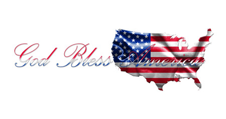United States of America Map With American  Flag and Text 3D illustration Stok Fotoğraf - 80986952