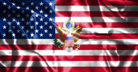 national trust: United States of America Flag With Eagle Coat Of Arms 3D illustration