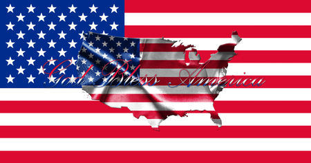 United States of America Map With American  Flag 3D illustration Stock Photo