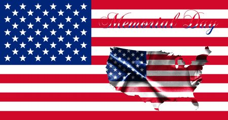 United States of America Memorial Day.Flag With Map of America and Text 3D illustration Stock Photo