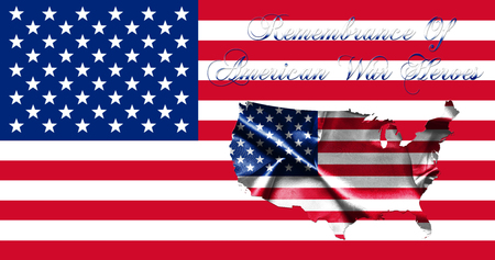 trust god: Memorial Day United States of America .Flag With Map of America and Text Remembrance of American War Heroes 3D illustration
