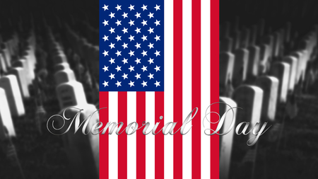 Memorial Day United States of America . American Flag With Cemetery and Gravestones in Background 3D illustration Stock Photo