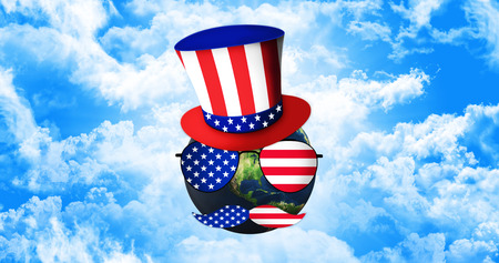 Planet Earth With Uncle Sams Hat, Sunglasses and Mustaches. United States of America Flag. Independence Day Concept 3D illustration