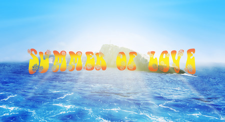 Summer Of Love Concept. Blue Sea and Island in The Background With Text
