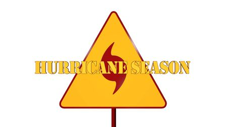 danger ahead: Hurricane Warning Road Sign Isolated On White Background 3D Rendering
