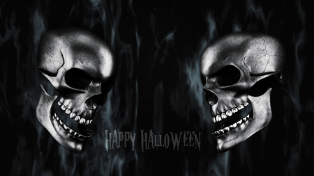 corps: Happy Halloween. Human Skulls With Smoke And Fire 3D Rendering