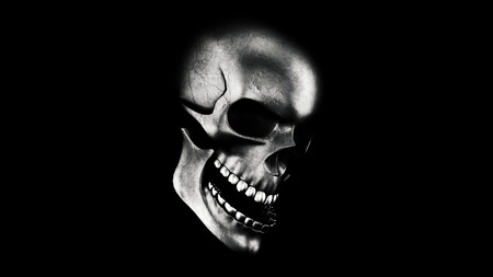 Human Skull On Black Background 3D Rendering. Halloween Concept Stock Photo