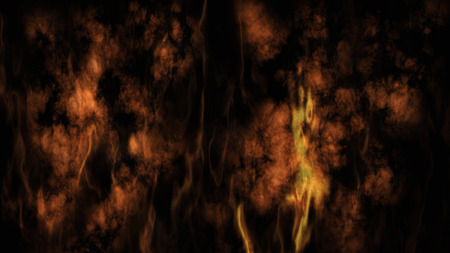 Smoke and Fire On Black Background 3D Rendering Stock Photo