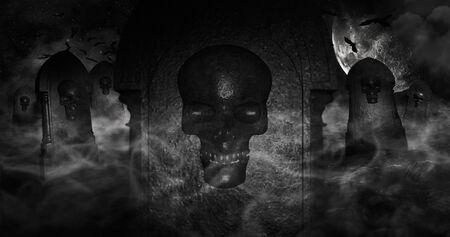 백그라운드에서 별 두개골과 흐린 하늘 가득 삭제 표시가있는 묘지. 할로윈 개념 3D 그림