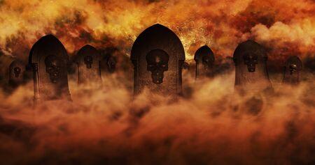 Begraafplaats bij nacht met grafstenen met schedels en brandende lucht vol met wolken en sterren op de achtergrond. Halloween-concept 3D illustratie Stockfoto