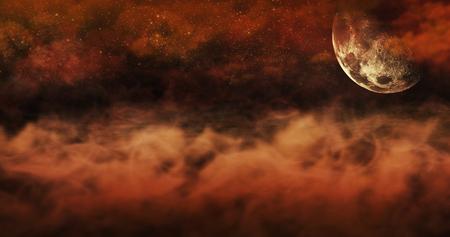 구름과 별이 가득한 지상과 불타는 하늘 위의 안개. 할로윈 개념 배경 3D 그림 스톡 콘텐츠