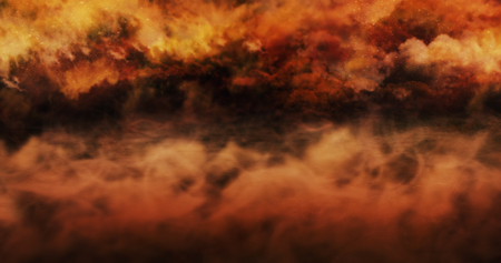 Mist Above The Ground And Burning Sky Full Of Clouds and Stars. Halloween Concept Background 3D illustration