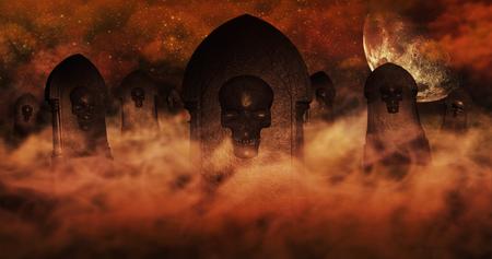 묘지 구름과 백그라운드에서 별 가득 두개골과 레코딩 하늘 가득 삭제 표시와 함께 밤에 묘지. 할로윈 개념 3D 그림