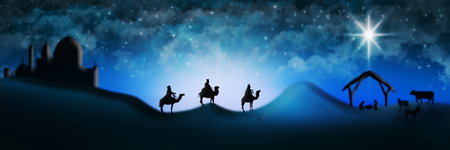 Christmas Nativity Scene Of Three Wise Men Magi Going To Meet Baby Jesus in the Manger with the City of Bethlehem in the distance Illustration 免版税图像 - 92405787