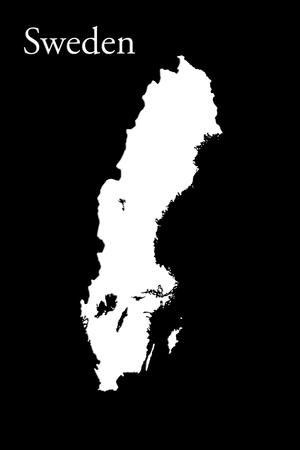 Swedish Map Isolated On Black Background 3d Illustration