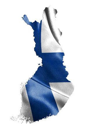 Finland Map With Flag On It 3D Illustration