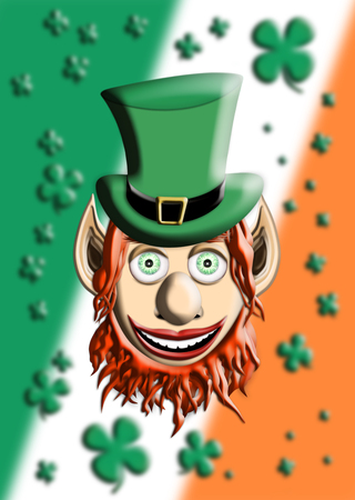 St Patricks Day. Leprechaun With Green Hat Against Irish Flag and Four Leaf Clover Background 3D illustration Stockfoto