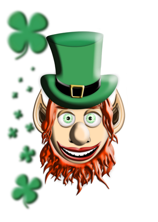 St Patricks Day. Leprechaun With Green Hat and Four Leaf Clover Isolated On White Background 3D illustration