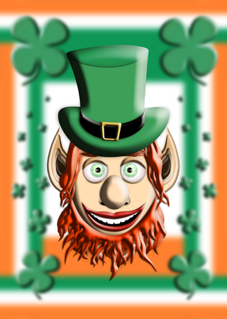 St Patricks Day. Leprechaun With Green Hat Against Irish Flag and Four Leaf Clover Background 3D illustration Stock Photo