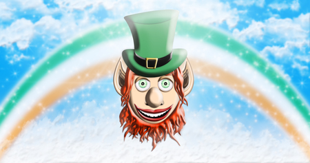 St Patricks Day. Leprechaun With Green Hat Against Sky Background With Rainbow and Clouds 3D illustration Stock Photo