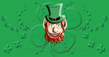 St Patricks Day. Leprechaun With Green Hat Against Irish Four Leaf Clover Background 3D illustration