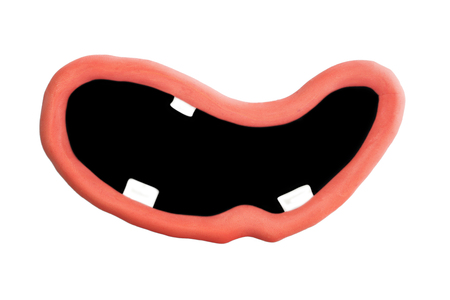 Mouth And Lips Made Of Plasticine Isolated on White Background
