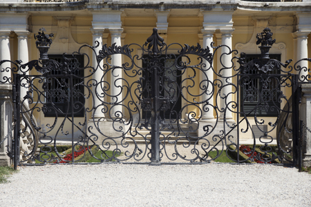 Schonbrunn Palace or Schloss Schönbrunn. Gate At The Side Of The Palace. Imperial summer residence in Vienna, Austria