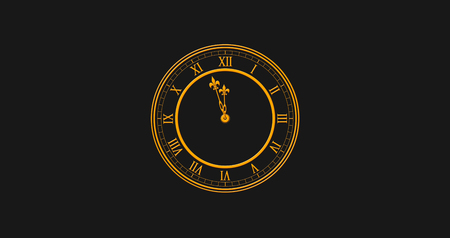 Happy New Year 2019 With Golden Colored Clock Striking Twelve Against Black Background Illustration