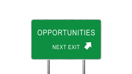 Opportunities Next Exit Green Road Sign With Direction Arrow Isolated On White Background. Business Concept 3D Rendering