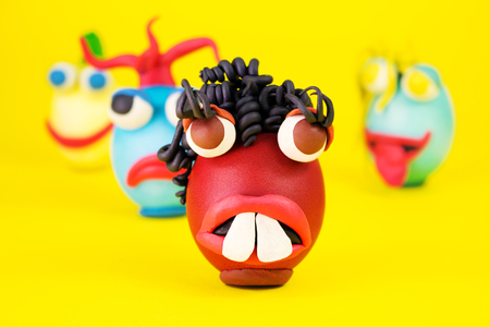 Easter Eggs Cartoonish Characters With Plasticine Eyes, Mouth and Hair Having an Expressive Faces Banque d'images
