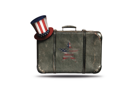 Travel Vintage Leather Suitcase With Uncle Sam's Hat and American Flag in Shape Of Star. Happy 4th of July Independence Day United States Of America
