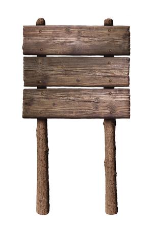 Señal de dirección de tablero de madera aislado sobre fondo blanco.