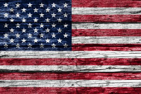 American Flag On Old Rustic Wooden Background