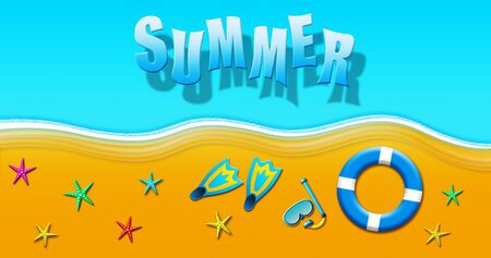 Summer Holiday At Tropical Sandy Beach With Scuba Mask, Flippers, Safety Rings and Starfish Illustration Banque d'images