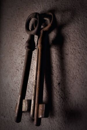 Old Rusted Keys Hanging On The Wall