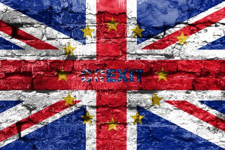 Brexit Concept. Great Britain flag and EU Yellow Stars with One Star Departing The Circle On Old Brick Wall