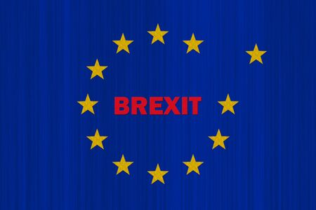 European Union Blue Flag With Yellow Stars and Brexit Text