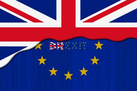 Brexit Concept. European Union EU flag Covered by Great Britain flag