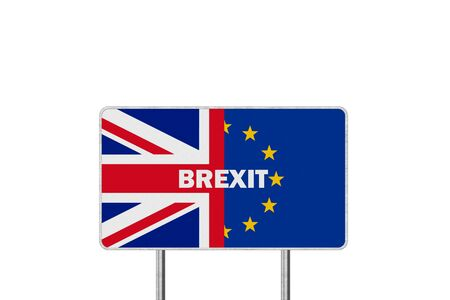 Brexit Concept. Road Sign With Half of European Union flag and Great Britain flag