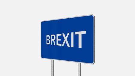 Brexit Concept. Road Sign Depicting Great Britain Departing European Uniun