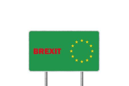 Brexit Concept. Road Sign Depicting United Kingdom Departing European Uniun Stok Fotoğraf