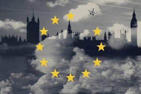 Brexit Concept. Great Britain Departing European Uniun. EU Flag Against London City Background Stok Fotoğraf