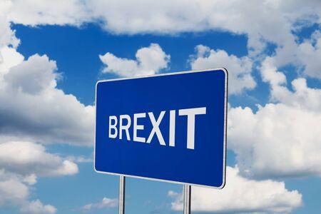 Brexit .Road Sign Depicting United Kingdom Departing European Uniun Stok Fotoğraf