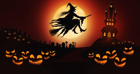 Halloween Pumpkins at Cemetery with Witch Riding the Broom Against Full Moon Sky with Haunted Mansion in the Background